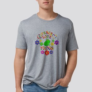 Peace Love Frogs Mens Tri-blend T-Shirt