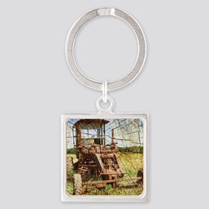 rustic farm tractor Square Keychain