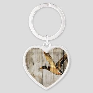 barnwood wild duck Heart Keychain