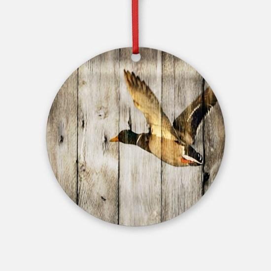 barnwood wild duck Round Ornament