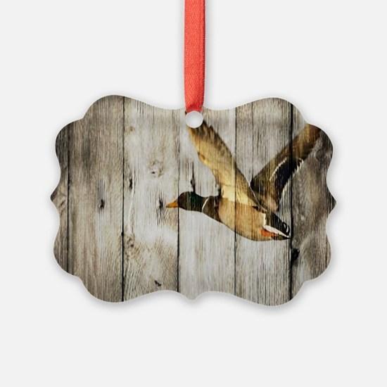 barnwood wild duck Ornament