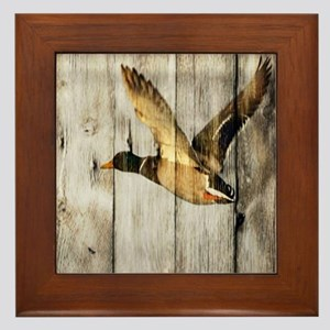 barnwood wild duck Framed Tile