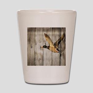 barnwood wild duck Shot Glass