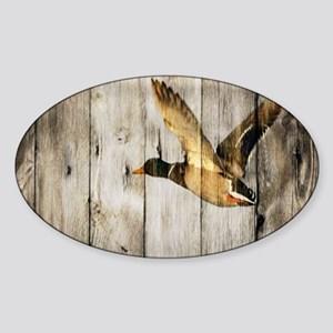 barnwood wild duck Sticker (Oval)
