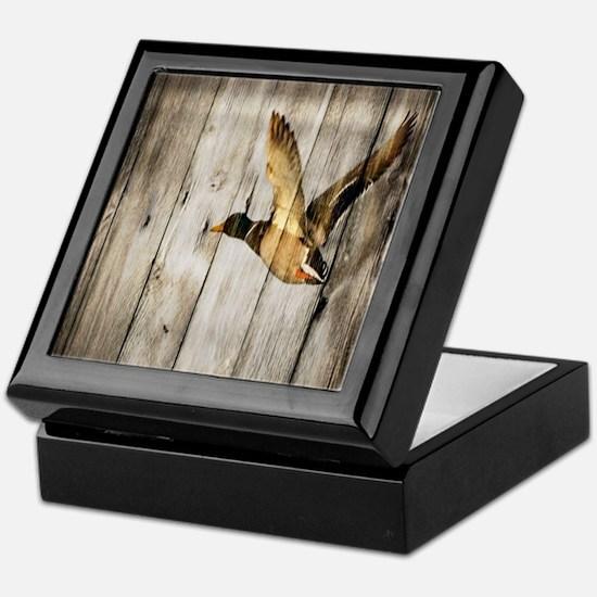 barnwood wild duck Keepsake Box