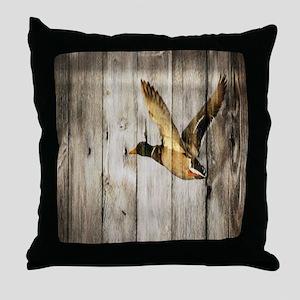 barnwood wild duck Throw Pillow