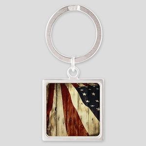 grunge USA flag Square Keychain