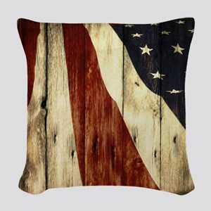 grunge USA flag Woven Throw Pillow