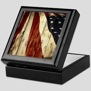 grunge USA flag Keepsake Box