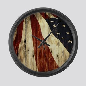 grunge USA flag Large Wall Clock
