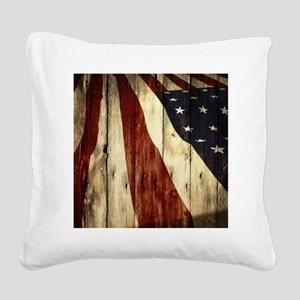 grunge USA flag Square Canvas Pillow