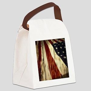 grunge USA flag Canvas Lunch Bag