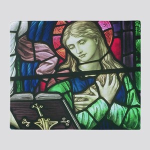 Stained Glass Mary Throw Blanket