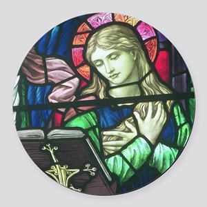 Stained Glass Mary Round Car Magnet