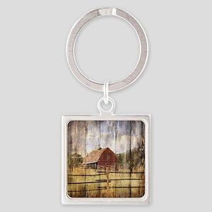farm red barn Square Keychain