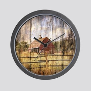 farm red barn Wall Clock