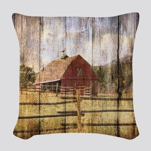 farm red barn Woven Throw Pillow