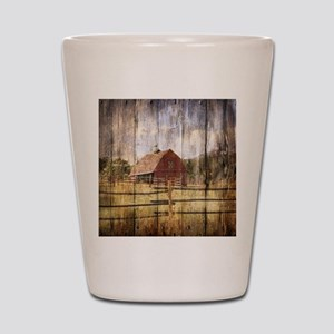 farm red barn Shot Glass