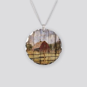 farm red barn Necklace Circle Charm