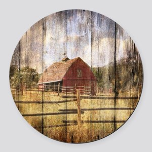 farm red barn Round Car Magnet