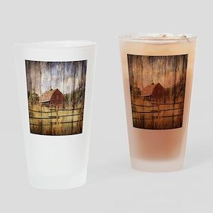 farm red barn Drinking Glass