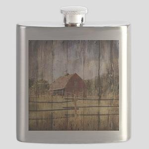 farm red barn Flask