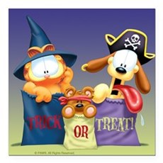 Garfield Trick or Treat Square Car Magnet 3