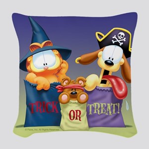 Garfield Trick or Treat Woven Throw Pillow