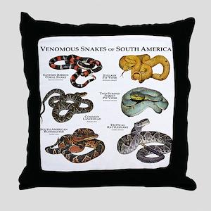 Venomous Snakes of South America Throw Pillow