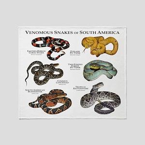 Venomous Snakes of South America Throw Blanket