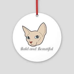Baldy Cat Ornament (Round)