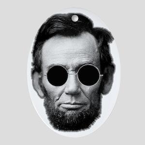 Abe Licoln and Cheap Sunglasses Oval Ornament