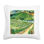 Winery Vineyard Art Square Canvas Pillow