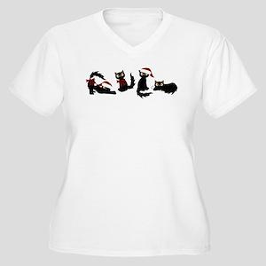 Cute Black Santa Cat Plus Size T-Shirt