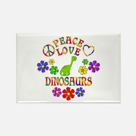 Peace Love Dinosaurs Rectangle Magnet