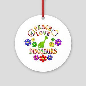 Peace Love Dinosaurs Round Ornament
