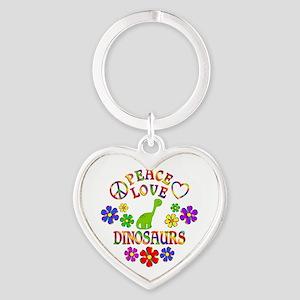 Peace Love Dinosaurs Heart Keychain