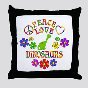 Peace Love Dinosaurs Throw Pillow