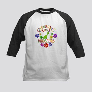 Peace Love Dinosaurs Kids Baseball Tee