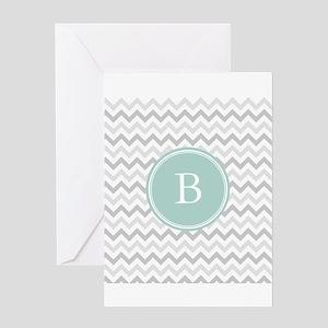 Mint Grey Chevron Greeting Cards