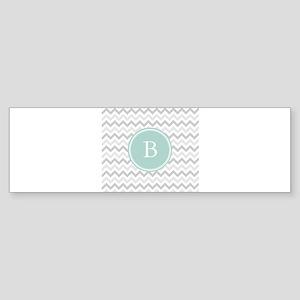 Mint Grey Chevron Bumper Sticker