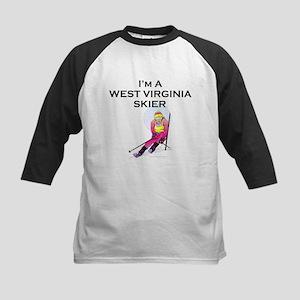 TOP West Virginia Skier Kids Baseball Jersey