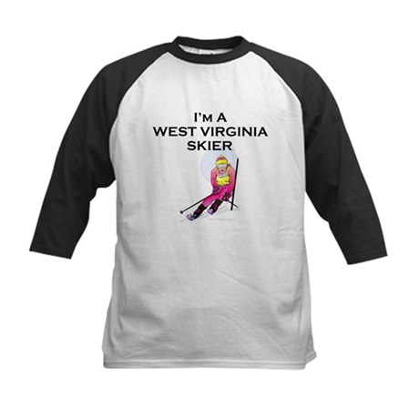 TOP West Virginia Skier Kids Baseball Jersey