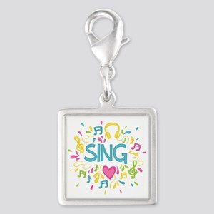 Sing Choir Music Silver Square Charm