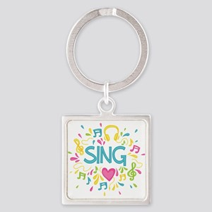 Sing Choir Music Square Keychain