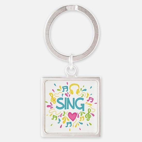 Sing Choir Music Square Keychain