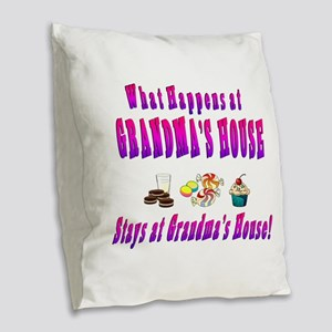 What Happens At Grandmas House Burlap Throw Pillow
