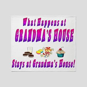 What Happens At Grandmas House Throw Blanket
