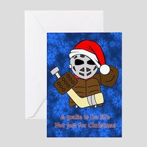 A Hockey Goalie is For Life Christmas Card Greetin
