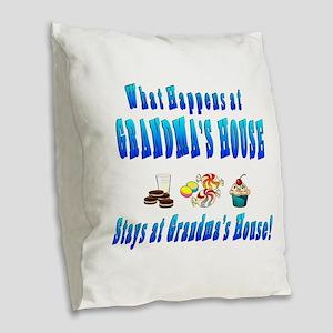 What Happens At Grandmas House Burlap Throw Pillow